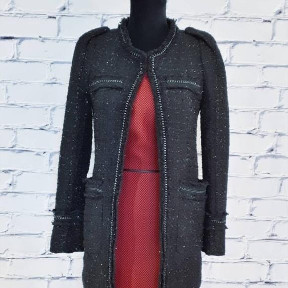 Basic House Jackets & Blazers - Basic House Black Silver Tweed Boucle Dress Coat